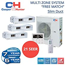 Multi Tri-zone Ductless Mini-split System 24,000 BTU Inverter Heat Pump (9k+9k+12k)