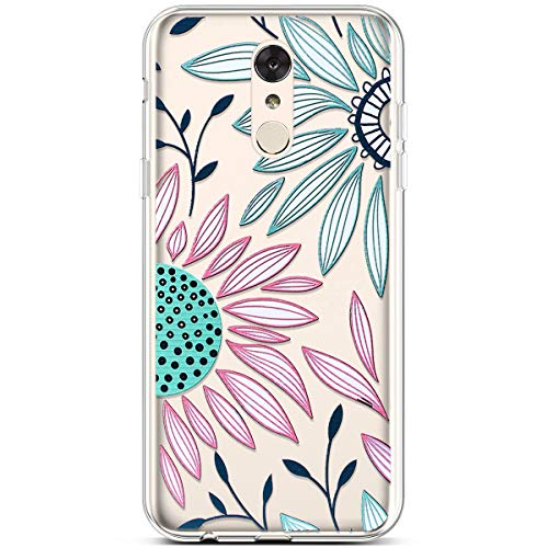 LG Stylo 4 Case,LG Stylo 4 Plus Case,LG Q Stylus Case,Cute Art Design Soft Flexible Clear TPU Rubber Silicone Case Transparent Slim TPU Bumper Cover Phone Case for LG Stylo 4,Pink Green Sunflower