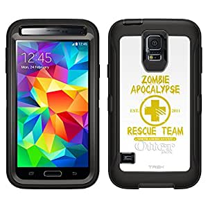 Skin Decal for Otterbox Defender Samsung Galaxy S5 Case - Zombie Apocalypse 2012 Rescue Team Yellow on White