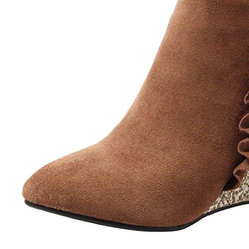 AIYOUMEI Damen Herbst Winter Keilabsatz Stiefeletten mit Glitzer Absatz und 9cm Absatz Kurzschaft Stiefel Keilstiefel Qir8YYN
