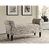 Roundhill Furniture English Letter Linen Aspell Anywhere Accent Upholstered Bench, Multicolor