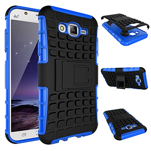 J7 Case, Express Prime Case,NOMO(TM) Shock Absorption Hybrid Dual Layer Armor Defender Protective Case Cover with Kickstand for Samsung Galaxy J7 2015 - Blue ()