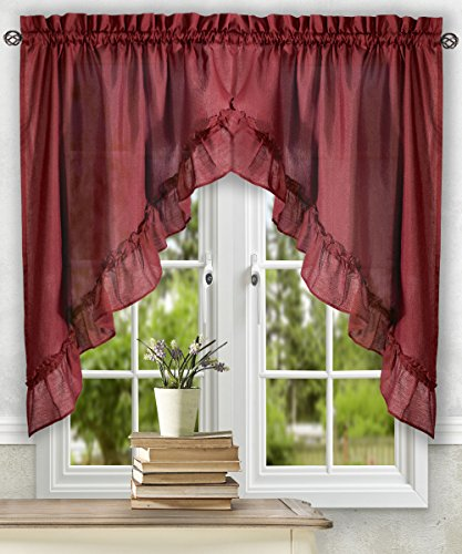 Ellis Curtain Stacey 60-by-38 Inch Ruffled Swag Curtain (Ruffled Swag Valance)