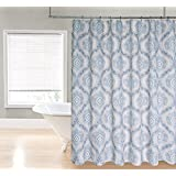 Regal Home Collections Ogee Damask Printed Fabric Shower Curtain, 70 by 72-Inch, Blue