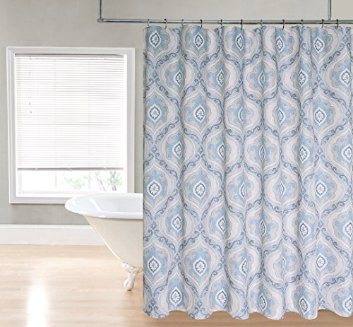 Regal Home Collections Ogee Damask Printed Fabric Shower Cur