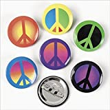 Fun Express Peace Sign Mini Buttons Pins Hippie 70s Party (96 Pack)