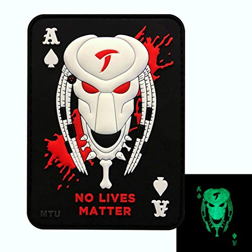 - Glow Dark Predator Alien Dead Card Hook Patch (3D PVC Rubber-ALG-8)