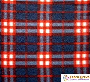 navy blue red anti pill plaid fleece fabric 60 inches wide and sold by the yard. Black Bedroom Furniture Sets. Home Design Ideas