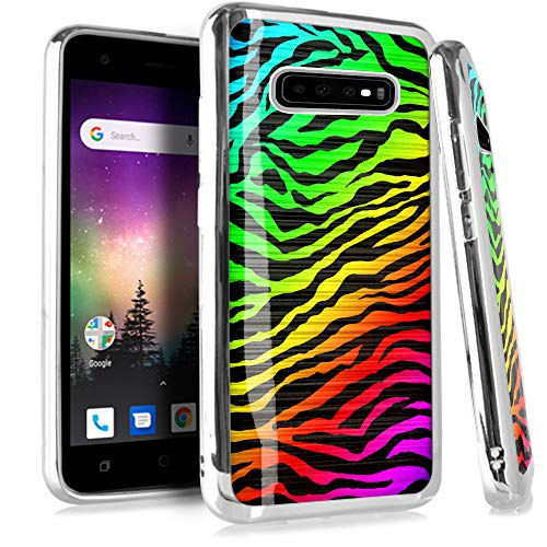 Compatible Samsung Galaxy S10 Plus S 10 Plus 4G Case Electroplated Chrome TPU Brushed Textured Hybrid Phone Cover (Rainbow Zebra) ()