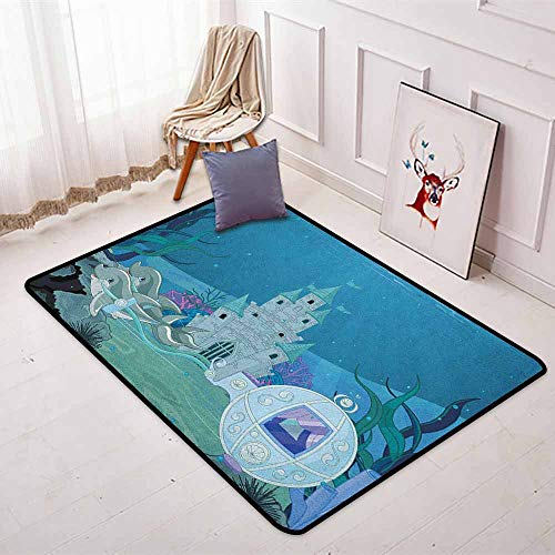 Ocean Non-Slip Absorbent Carpet Fairytale Mermaid Castle with Dolphins Moss Fish Sun Beams Art Print Better underfoot Protection W35.4 x L47.2 Inch Turquoise Pale Blue Teal