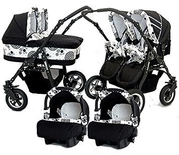 Carro gemelar 3 piezas + ISOFIX. Capazos+sillas+portabebes+isofix+accesorios. Negro+blanco: Amazon.es: Bebé