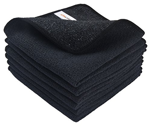 SUNLAND Microfiber Dish Kitchen Cloths Fast Drying Cleaning Cloths With Poly Scour Side 12.5Inch x 12.5Inch 6 Pack Black