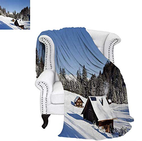 (Digital Printing Blanket Log Cabins in The Mountains Sunny Winter Day Rural Scene Holiday Vacation Summer Quilt Comforter 62