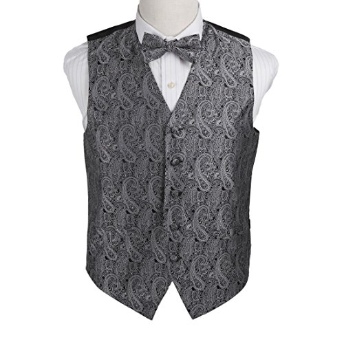 Black Micro Vest - Epoint EGE1B02D-XL Grey Black Paisley Microfiber Vest and Pre-Tied Bow Tie Work-Utility Him