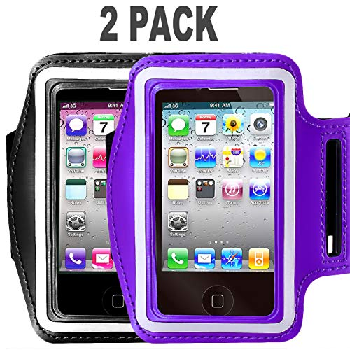 [2pack] Armband for iPhone X XS XR MAX 8/8plus/7/6/6S Plus,Samsung Galaxy S9 s8 s7 s6 Edge s8+,Note 5.etc.CaseHQ Adjustable Reflective Exercise Running Pouch Key Holder-Hiking,Biking(Black+Purple)