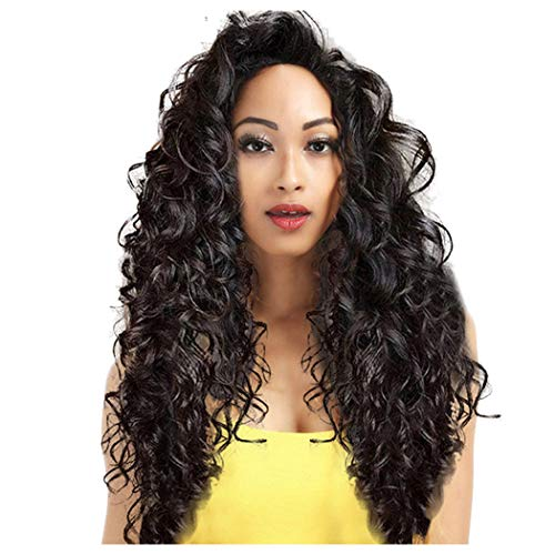 Inkach Clearance Long Wavy Lace Front Wig - Black Womens Curly Wig Side Part Synthetic Fiber Hair Wigs (Black)