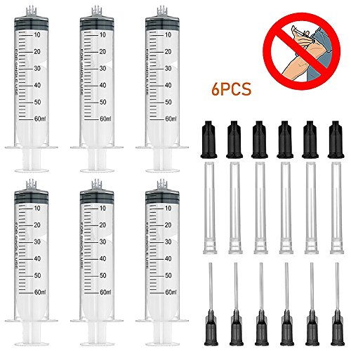 6 Pack 60ml/cc Syringes with 16Gx1.0'' Blunt Tip Fill Needles and Storage Caps(Luer Lock)-Half Dozen Pack