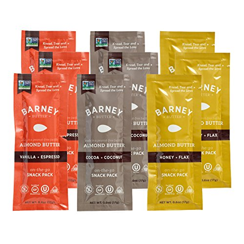 Barney Butter Almond Butter Flavor Variety Snack Pack (Pack of 9 with 3 Flavors) | Gluten Free | 0.6 Ounce | Cocoa + Coconut, Honey + Flax, Espresso + Vanilla