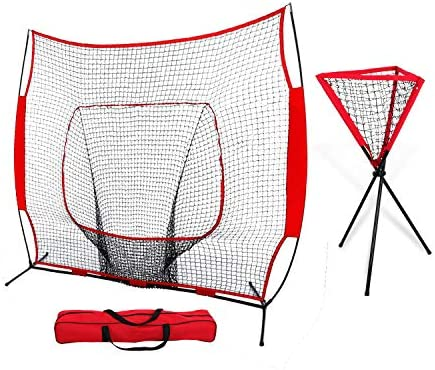 ZENY 7 x 7 Baseball Softball Practice Hitting Pitching Batting Net with Bow Frame,Carry Bag,Great for All Skill Levels Foldable Ball Caddy