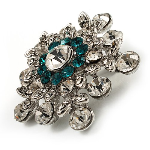 Broche Epingle Cristal Swarovski (Transparent & Turquoise)