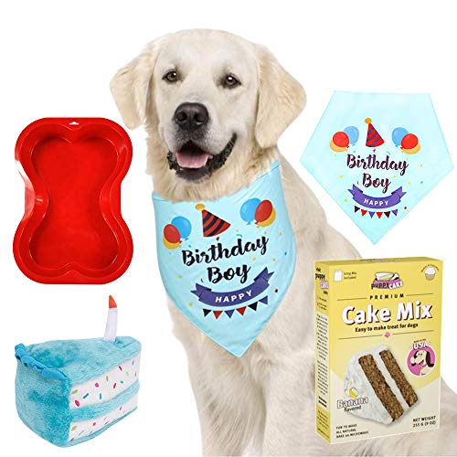 Primo Lines Dog Birthday Party Supplies - Cake Mix and Frosting, Cake Stuffed Toy, Bone Shaped Cake Pan, and Bandana (Blue for Boys)