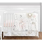 4 pc. Blush Pink, Gold, Grey and White Star and Moon Celestial Baby Girl Crib Bedding Set without Bumper by Sweet Jojo Designs