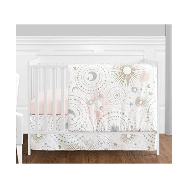 Sweet JoJo Designs 4 Piece Blush Pink, Gold, Grey and White Star and Moon Celestial Baby Girl Crib Bedding Set Without Bumper