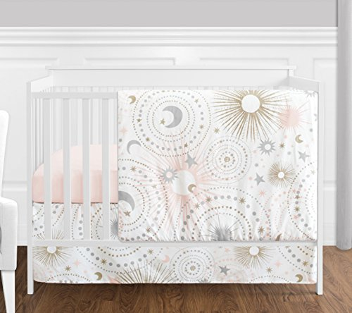 - 4 pc. Blush Pink, Gold, Grey and White Star and Moon Celestial Baby Girl Crib Bedding Set Without Bumper by Sweet Jojo Designs