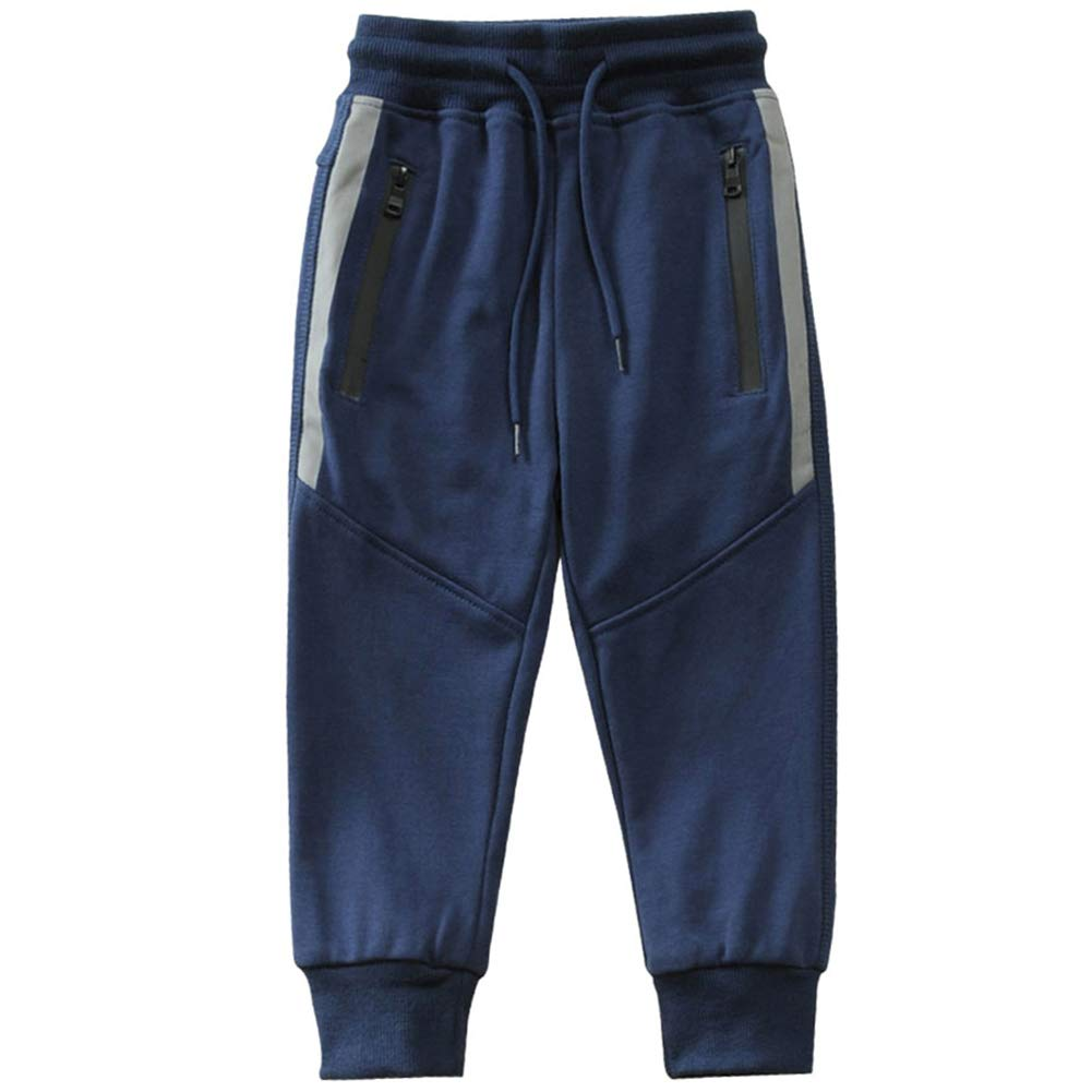 Kids Boy Sweatpants Cotton Jogger Athletic Pants Drawstring Sports Trousers Blue 110 Size 4T