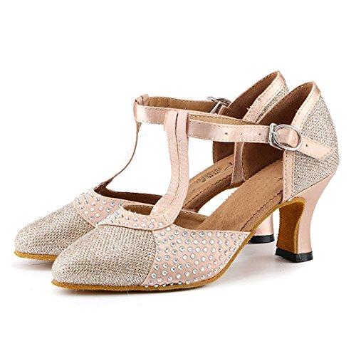 Miyoopark Femmes T-strap Cristaux Satin À La Mode Latine Salsa Chaussures De Danse Champagne-7cm Talon