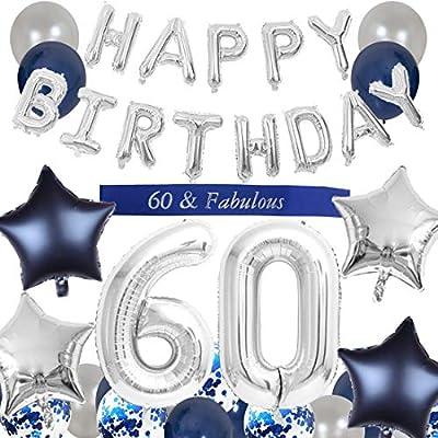 JOYMEMO Decoraciones del 60 cumpleaños Azul para Hombres ...