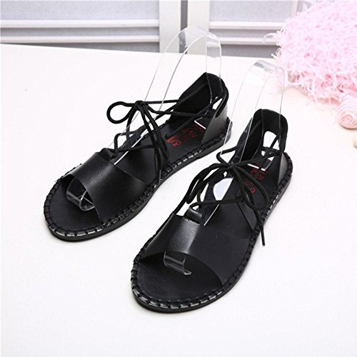 FANIMILA Mujer Moda Punta Abierta Planos Cordones Sandalias Chicas Nature Style Zapatos Negro