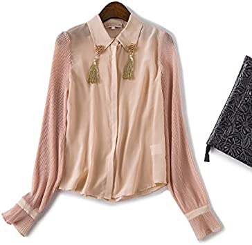ZHUDJ Las Blusas De Mujeres Color Maquillaje Otoño Camisa Blusa De Seda Plisada Temperamento OL,con Color Champán,S: Amazon.es: Deportes y aire libre