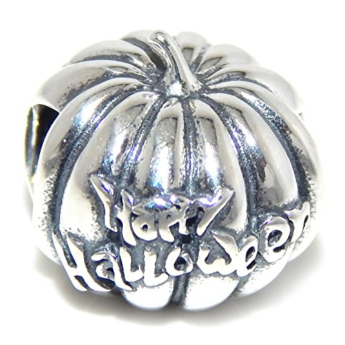 Pro Jewelry 925 Solid Sterling Silver 'Happy Halloween' Jack-O'-Lantern Charm Bead (Pandora The Witch Costume)