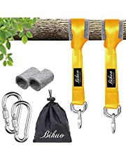 Bihuo Tree Swing Hanging Straps Kit - Holds 2000 lbs, 5ft Long Straps with 2 Tree Protectors 2 Safer Lock Snap Carabiner Hooks Perfect for Tree Swing Hammocks, Perfect for Swings (Gold)