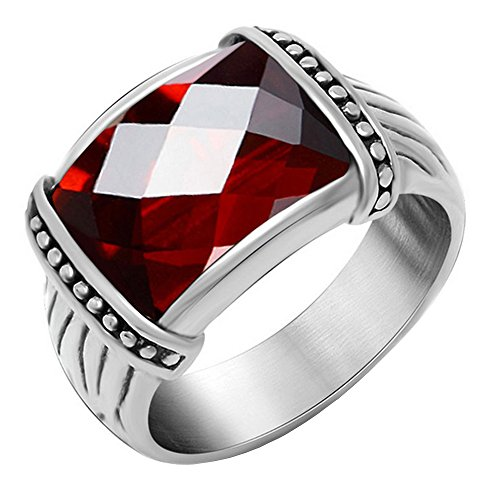 Created Garnet Stainless Steel Ring - Claire Jin Ethnic Red Garnet Ring Titanium Steel Unisex Lovers Couple Rings Vintage Men Jewelry (7)