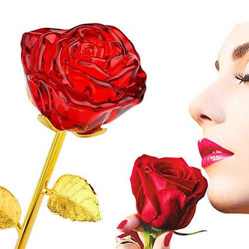 Glass Rose Flower, 24K Gold Plated Long Stem Artificial Red Rose Flower Anniversary Birthday Valentines Gift for (Glass Flower Long Stem)