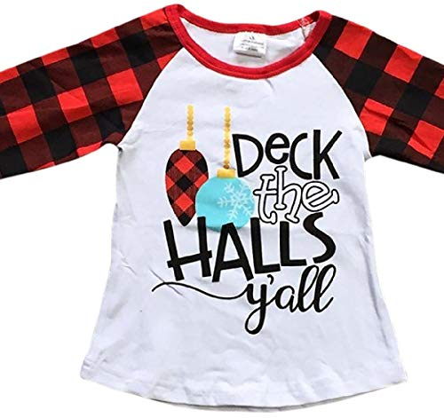 (BluNight Collection Little Girl Kids Christmas Deck The Halls Y'all Holiday Shirt Top Tee T-Shirt White Red 8 XXXL (318586))