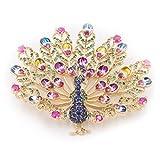 Lavencious Peacock Style Fine Multi Color CZ Cubic Zirconia Brooch Pin for Women