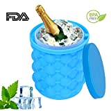 Image of ice cube maker Genie Revolutionary Space Saving Ice Bucket, BPA Free Silicone Ice Cube Mold Storage Container 5.7×5.3inch