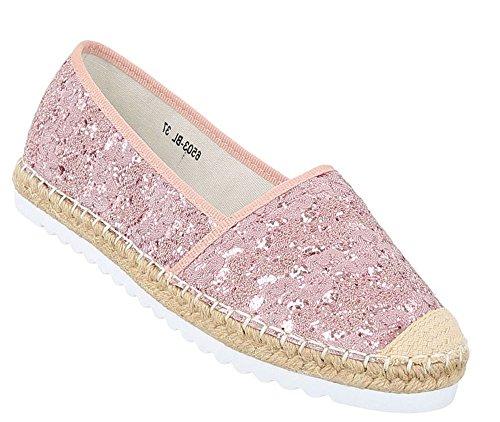 Damen Metallic Espadrilles | Slipper Glitzer | Lack Flats Profilsohle | Denim Ballerinas Pailletten | Schuhe Lack | Ballerina Slippers | Schuhcity24 Rosa