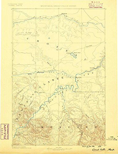 Great Falls MT topo map, 1:250000 scale, 1 X 1 Degree, Historical, 1886, 19.8 x 15.2 IN - - Valley Fair Map Of