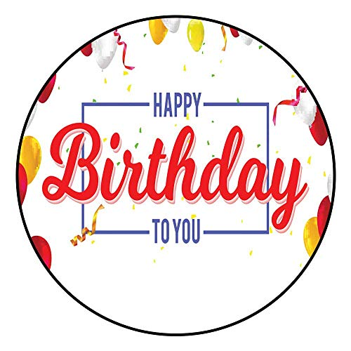 Door Mat IncreaseStylish Greetings Happy Birthday Creative Card with Inflatable Balloons Confetti and Streamers Radius120/R47.24 Inch