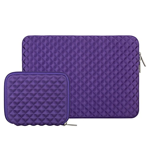 Mosiso Shock Resistant Diamond Foam Water Repellent Lycra Laptop Sleeve Bag Cover for 13-13.3 Inch MacBook Pro / Air,Notebook with Small Case, Purple