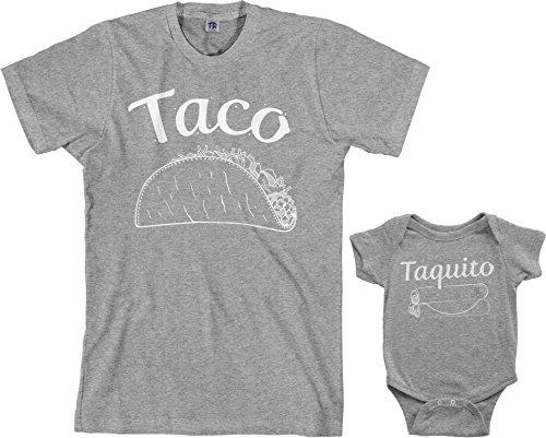 Threadrock Taco & Taquito Infant Bodysuit & Men's T-Shirt Matching Set (Baby: 18M, Sport Gray|Men's: M, Sport Gray) ()