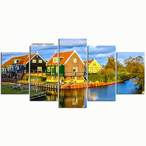 PENGTU Paintings Modern Canvas Painting Wall Art Pictures 5 Pieces River Village Houses Scene View Wall Decor HD Printed Posters Frame
