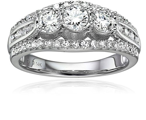 14k White Gold 1CTTW Three Stone Diamond Ring (1cttw, H-I Color, I1-I2 Clarity), Size 7