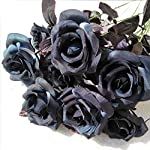 TopgalaxyZ-Artificial-Flowers-Black-Roses-25pcs-Fake-Roses-wStem-DIY-Wedding-Bouquets-Centerpieces-Arrangements-Party-Home-Halloween-Decorations-Halloween-Decor-Flower-Party