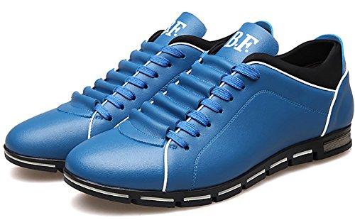 Odema Herren Beilaufiger Schnursenkel Flach Business Athletic Sneaker Blau