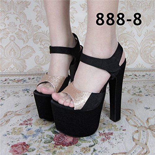 Xing Lin Sandalias De Mujer Gruesas Con Sandalias De Primavera Y Verano Nuevo Espesor Con Taiwán Impermeable Alto Cm Noche Zapatos De Mujer 18 888-8